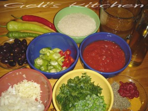 Ingredients for Geli's Spanish Rice